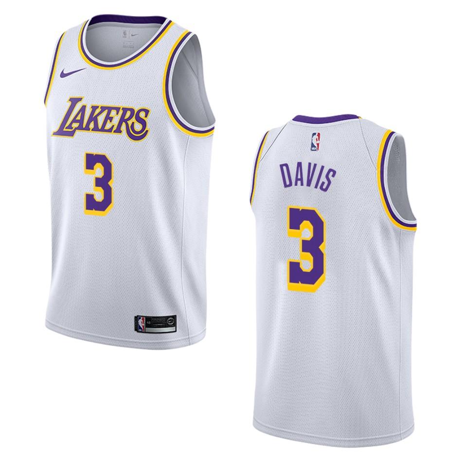 Men's Los Angeles Lakers #3 Anthony Davis Association Swingman ...