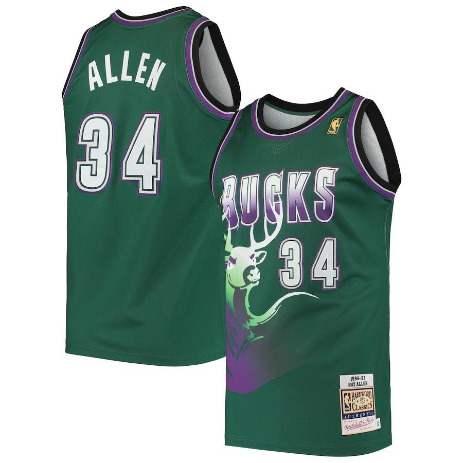 Ray Allen Milwaukee Bucks Mitchell & Ness 1996 Hardwood Classics ...
