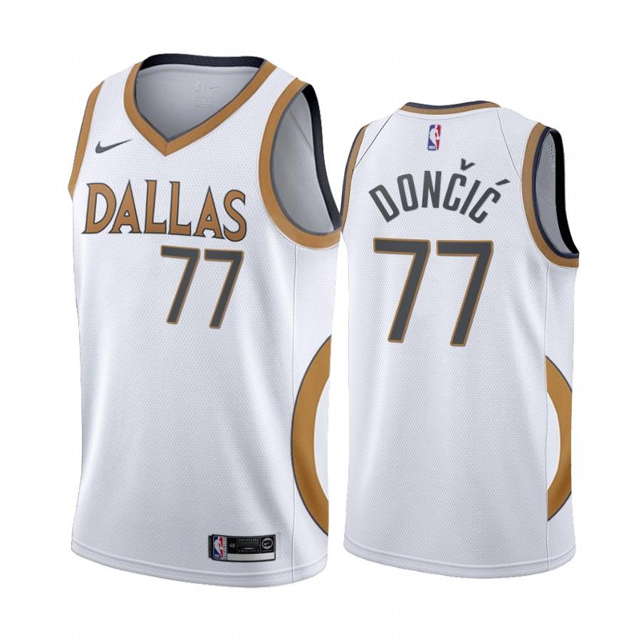 Luka Doncic Dallas Mavericks White City Edition Gold silver logo ...